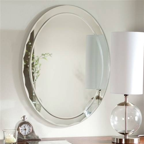Oval Frameless Bathroom Vanity Wall Mirror With Beveled Edge In Beveled Edge Oval Mirrors (#16 of 20)