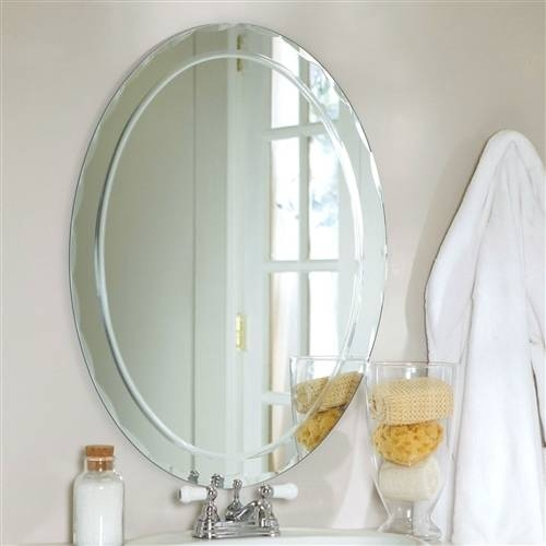 Oval Frameless Bathroom Vanity Wall Mirror With Beveled Edge With Regard To Beveled Edge Oval Mirrors (#17 of 20)