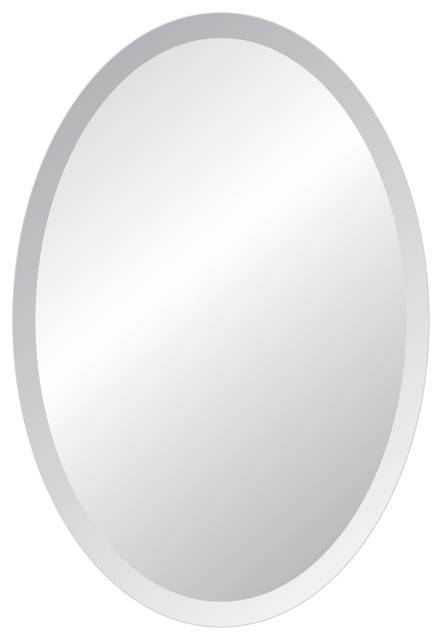 Oval Frameless Bevel Wall Mirror – Contemporary – Wall Mirrors Pertaining To Beveled Edge Oval Mirrors (#18 of 20)