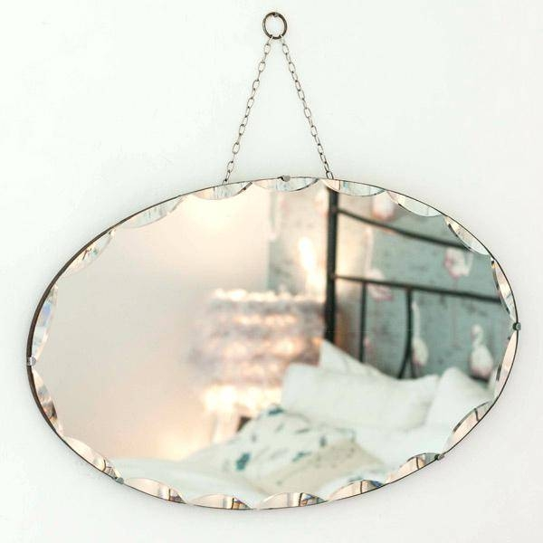 Oval Frameless Beveled Mirrorodelia Wall Mirror Rectangular Pivot Within Vintage Frameless Mirrors (#26 of 30)