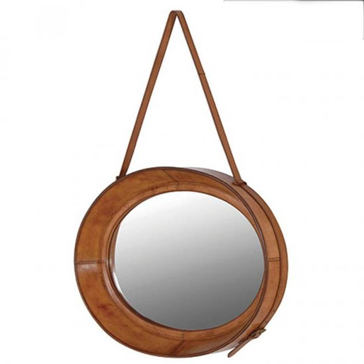 Oval Leather Hanging Mirror 71 X 51 Cm Oval Leather Hanging Mirror Inside Wall Leather Mirrors (#19 of 30)