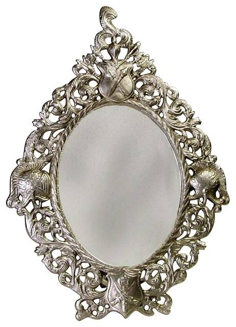Oval Mirror W Frame In Antique Pewter Finish – Traditional – Wall With Regard To Pewter Ornate Mirrors (#28 of 30)