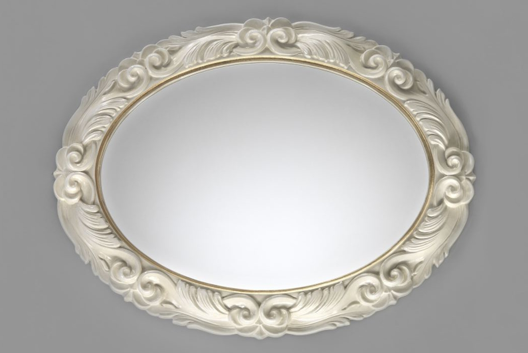 Oval Mirror With Ivory Ornate Wood Frame – Luxury Decor With Regard To Ornate Oval Mirrors (#19 of 20)