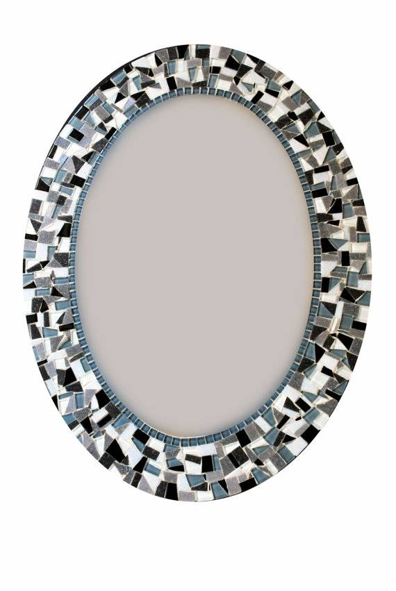 Oval Mosaic Mirror Black And White Home Decor In Black Mosaic Mirrors (#23 of 30)