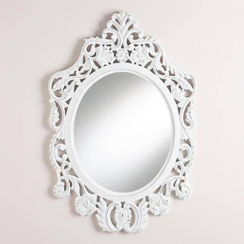 Oval Olivia Carved Mirror – World Market In White Oval Mirrors (View 7 of 20)