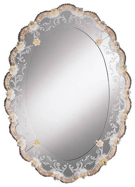 Oval Venetian Mirror With Gold Highlights – Traditional – Bathroom With Regard To Venetian Oval Mirrors (View 7 of 15)