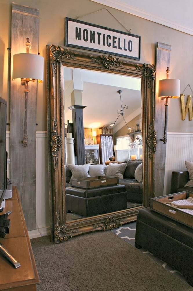 Oversized Gold Floor Mirror Also Huge Floor Mirror Cheap Intended For Huge Mirrors For Cheap (#19 of 20)