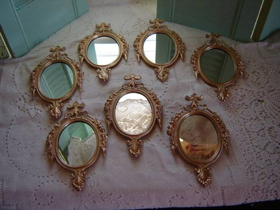 Painted Gold Mirrors Italian Metal Mirrors Wall Hanging 6X4 Inside Small Gold Mirrors (View 8 of 20)