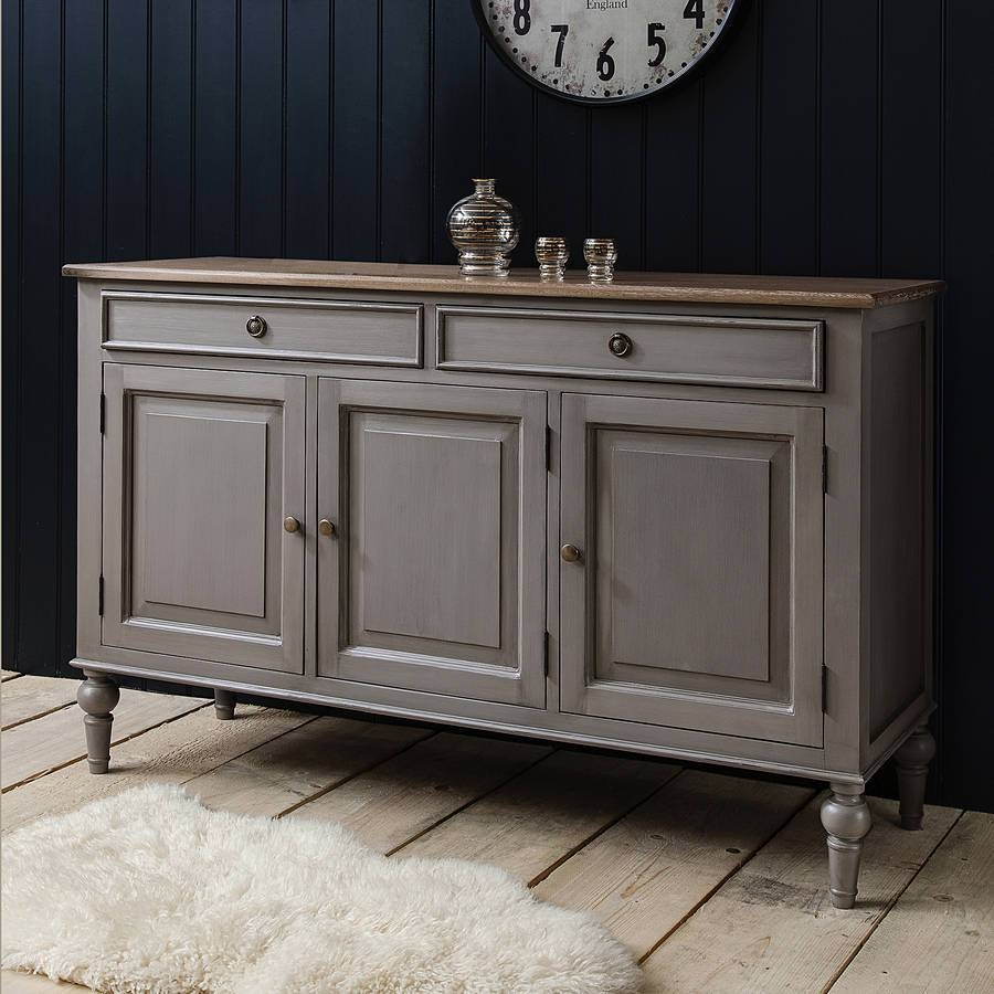 Painted Grey Sideboard With Wooden Topprimrose & Plum Inside Unusual Sideboards (#7 of 20)