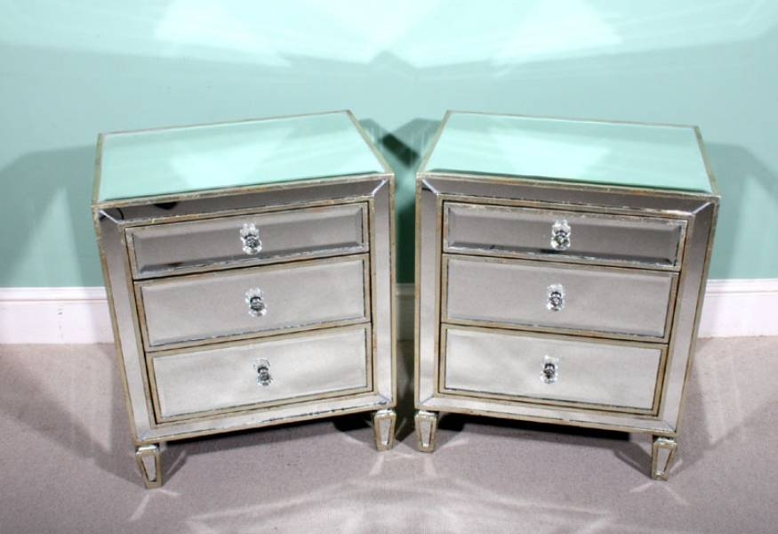 Pair Art Deco Style Mirrored Bedside Tables Chests Regarding Bedside Tables Antique Mirrors (View 11 of 20)