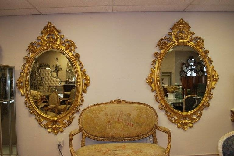 Pair Italian 19Th Century Wood Carved And Gilded Mirrors At 1Stdibs In Gilded Mirrors (#14 of 20)