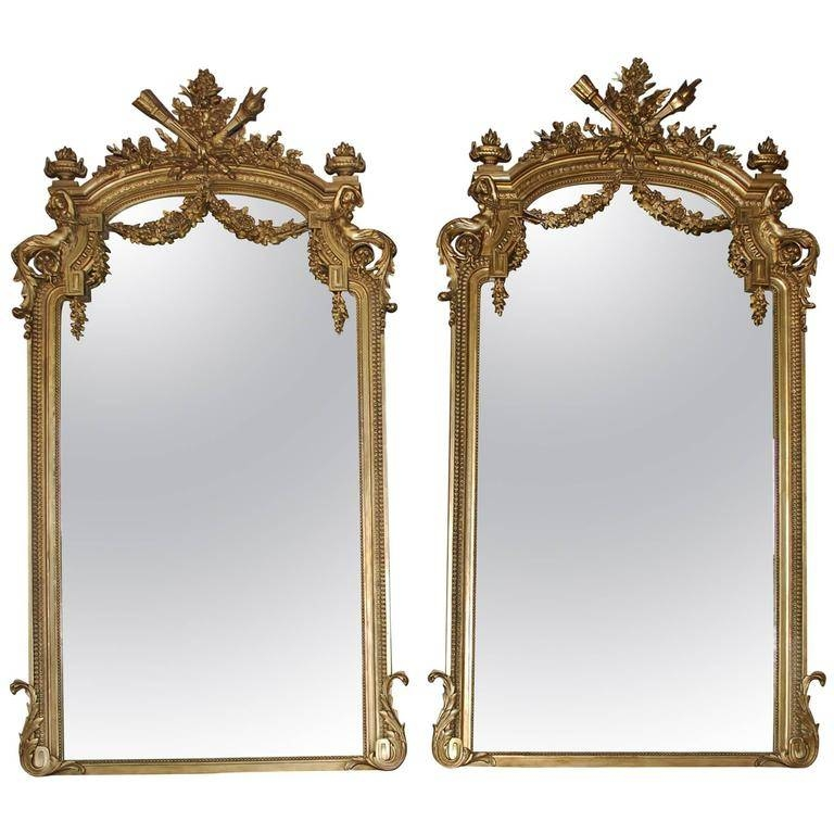 Pair Of 19Th Century Large Gold Gilded Mirror At 1Stdibs Inside Antique Gilded Mirrors (View 19 of 20)