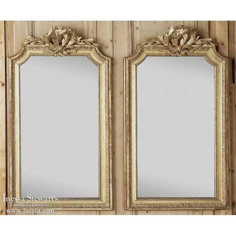 Pair Of Antique French Louis Xvi Gilded Mirrors – Inessa Stewart's Inside Antique French Mirrors (View 15 of 20)
