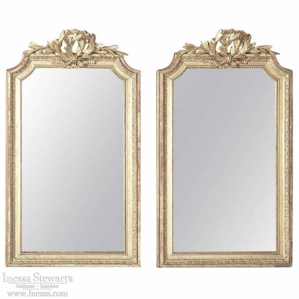 Pair Of Antique French Louis Xvi Gilded Mirrors – Inessa Stewart's Inside Antique Gilded Mirrors (View 13 of 20)
