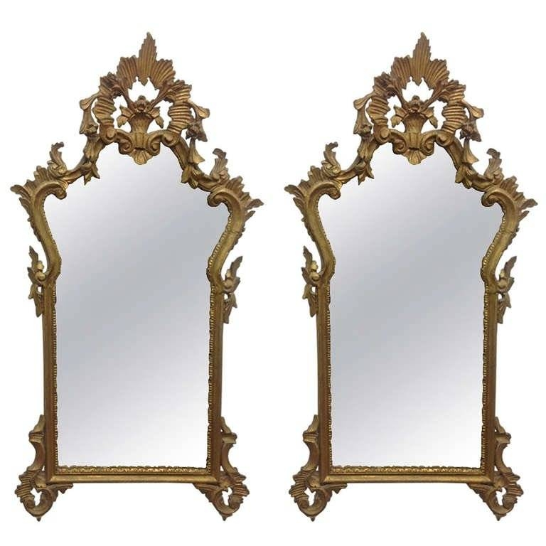 Pair Of French Antique Hand Carved Wooden Gilded Mirrors For Sale Intended For Gilded Mirrors (#17 of 20)