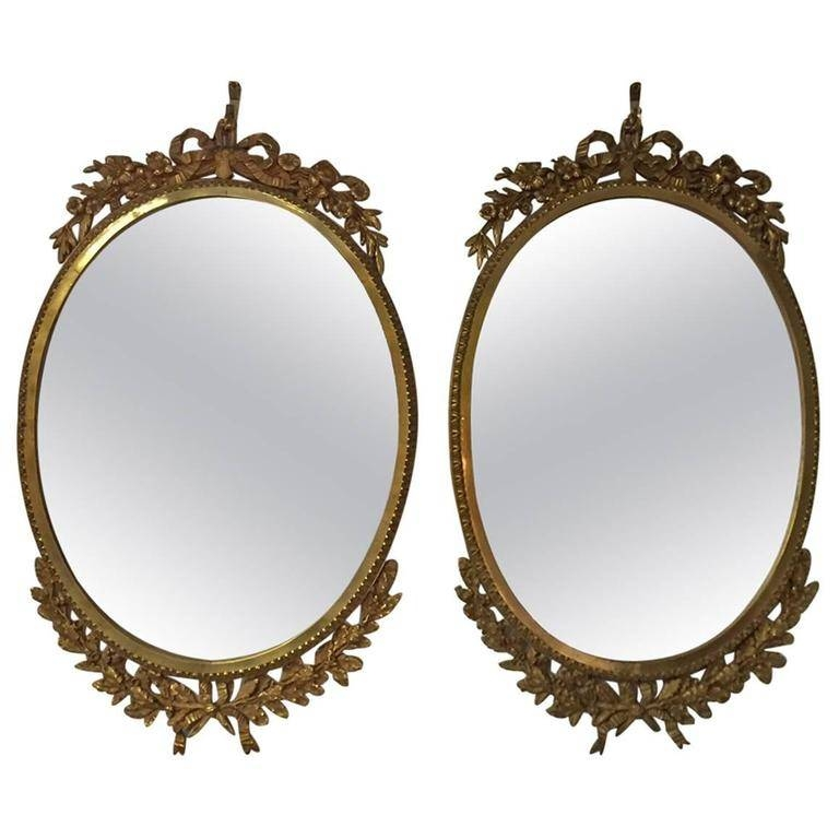 Pair Of French Ormolu Oval Mirrors, Circa 1900 For Sale At 1Stdibs Pertaining To French Oval Mirrors (#29 of 30)