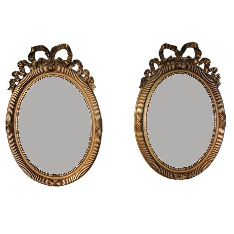 Pair Of French Oval Gilt Mirrors With Ribbon Design At 1Stdibs Intended For Gilt Mirrors (#16 of 20)
