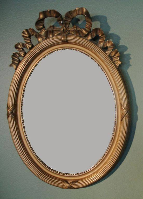 Pair Of French Oval Gilt Mirrors With Ribbon Design At 1Stdibs Regarding French Oval Mirrors (#30 of 30)