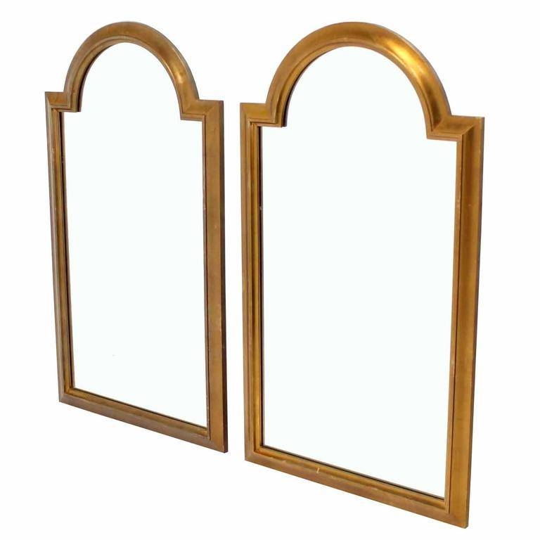 Pair Of Gold Labarge Rectangle Arch Top Mirrors For Sale At 1stdibs Inside Curved Top Mirrors (View 26 of 30)