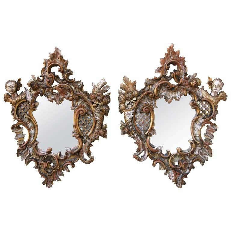 Pair Of Italian Baroque Style Mirrors | Melissa Levinson Antiques With Regard To Baroque Style Mirrors (#17 of 20)