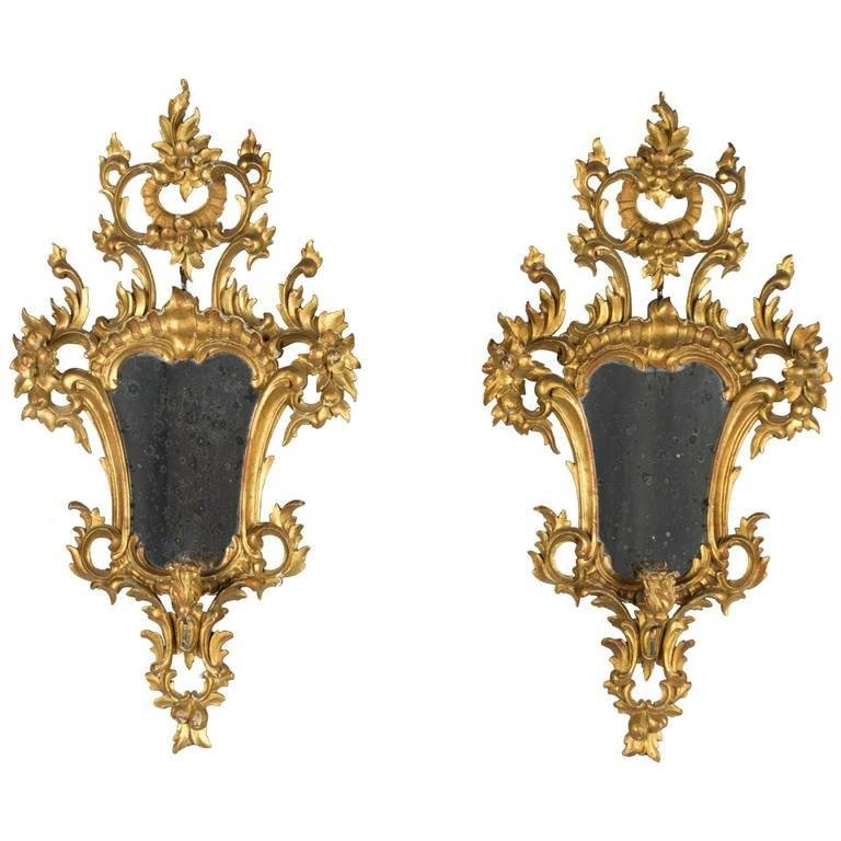 Pair Of Italian Rococo Style Mirrors With Candleholders For Sale With Regard To Rococo Style Mirrors (#19 of 30)