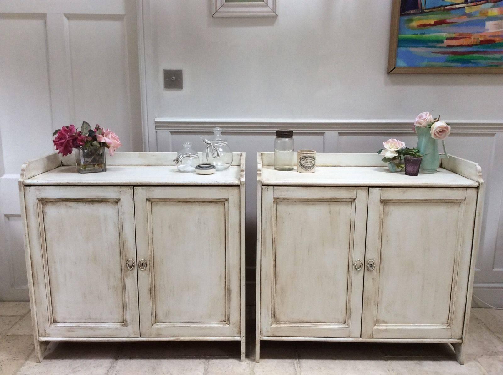 Pair Of Pine Painted Cream Sideboard Freestanding Kitchen Unit With Free Standing Kitchen Sideboard (View 2 of 20)