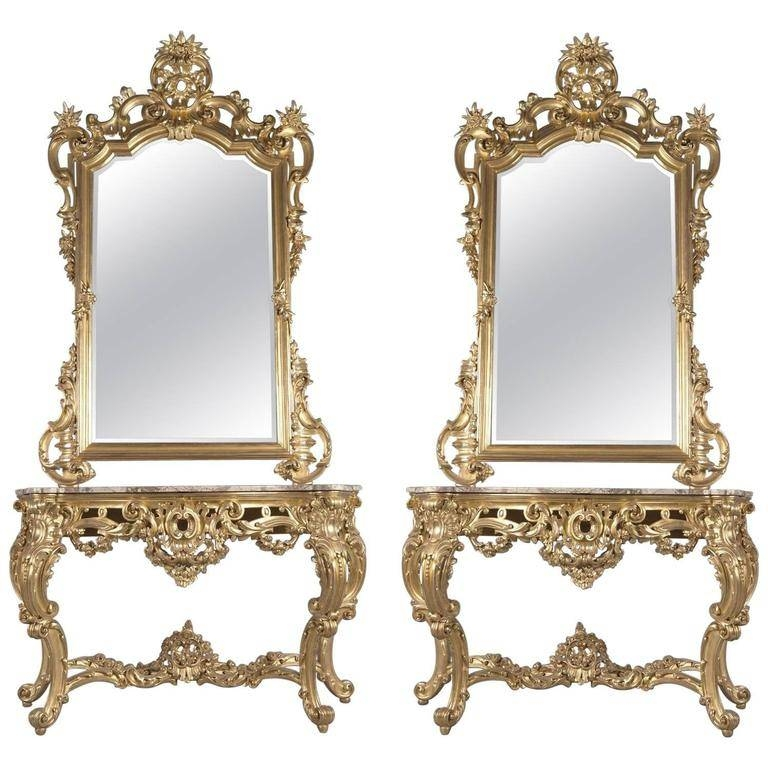 Pair Of Rococo Style Giltwood Console Tables And Mirrors, Italy Throughout Rococo Style Mirrors (#20 of 30)