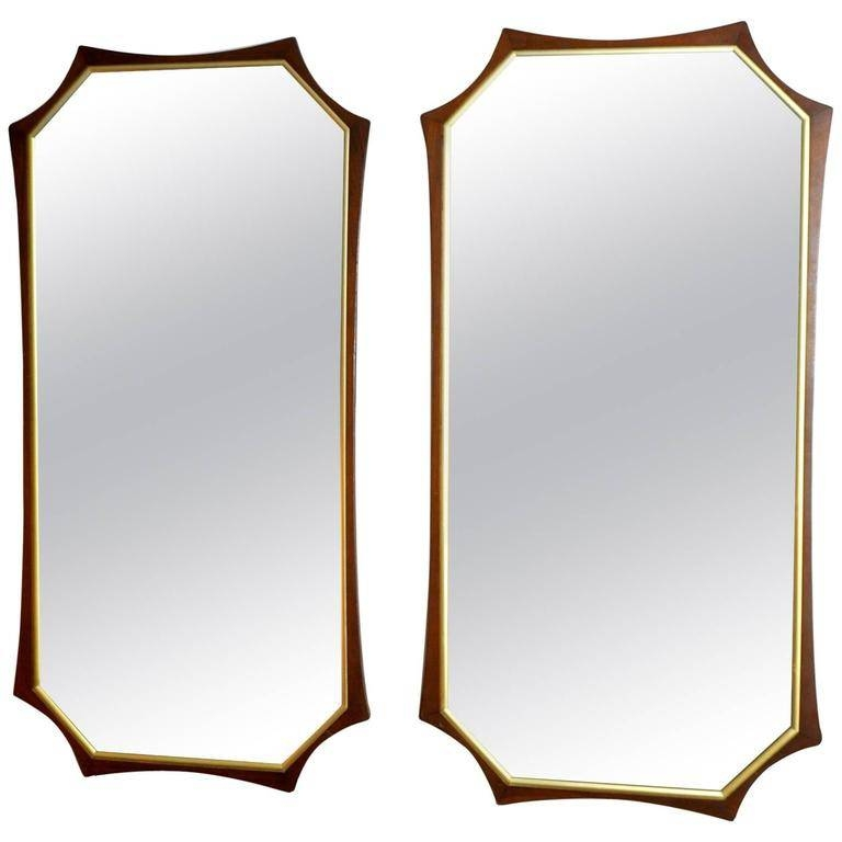 Pair Of Sculptural Mid Century Modern Walnut And Brass Mirrors For With Brass Mirrors (#12 of 15)
