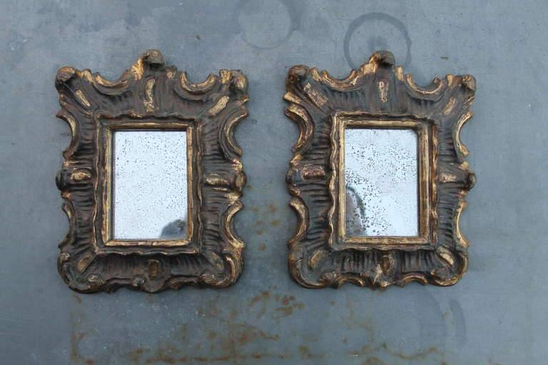 Pair Of Small Italian Wood Carved, Polychromed And Gilded Mirrors Intended For Gilded Mirrors (#18 of 20)