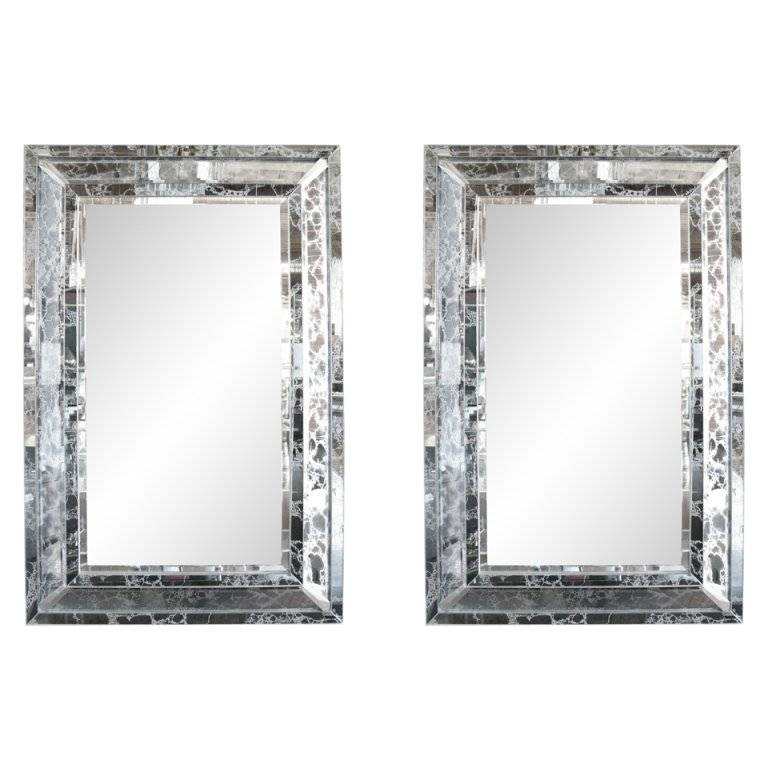 Pair Of Venetian Style Silver Veined Mirrors At 1Stdibs With Regard To Venetian Style Mirrors (#16 of 30)