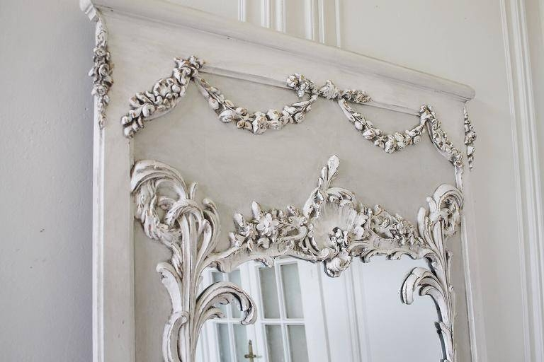 Pair Of Vintage French Style Painted Trumeau Mirrors With Rose Regarding Vintage French Mirrors (#28 of 30)