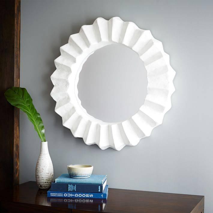 Papier Mache Round Mirror | West Elm Pertaining To Round White Mirrors (#14 of 30)