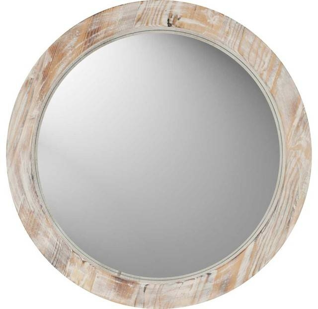 Paragon Round Washed Wood Mirrormirrors – Beach Style – Wall With Regard To Wooden Mirrors (#18 of 30)