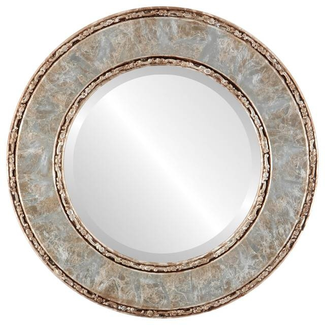 Paris Framed Round Mirror In Champagne Silver – Traditional – Wall With Regard To Champagne Silver Mirrors (#11 of 15)