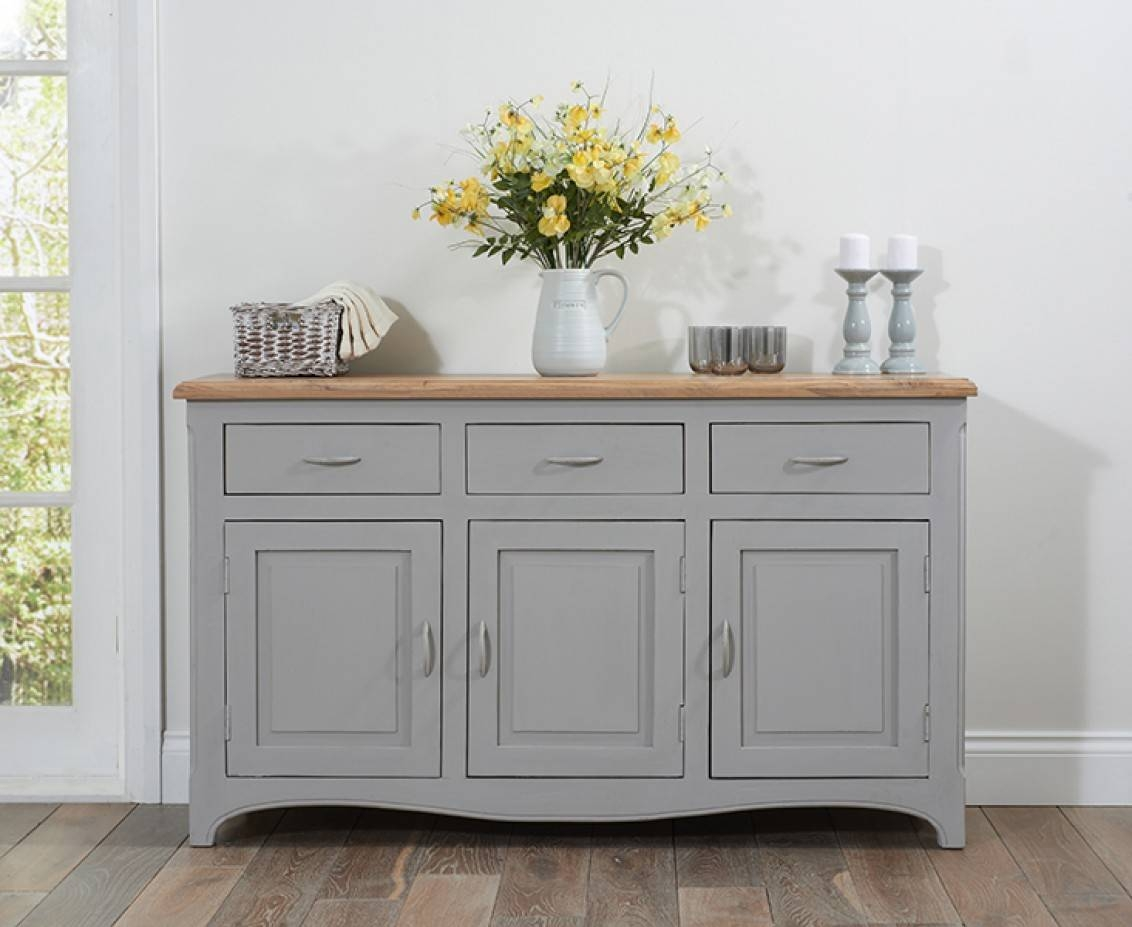 Parisian Grey Shabby Chic Sideboard | The Great Furniture Trading With Dark Grey Sideboard (#15 of 20)