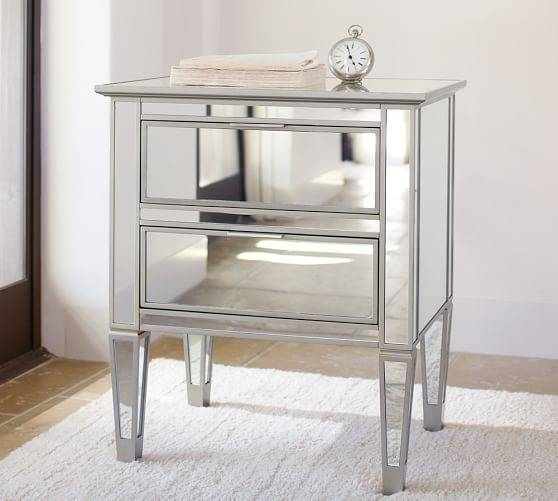 Park Mirrored Dresser & Bedside Tables Set | Pottery Barn Regarding Bedside Tables Antique Mirrors (View 17 of 20)