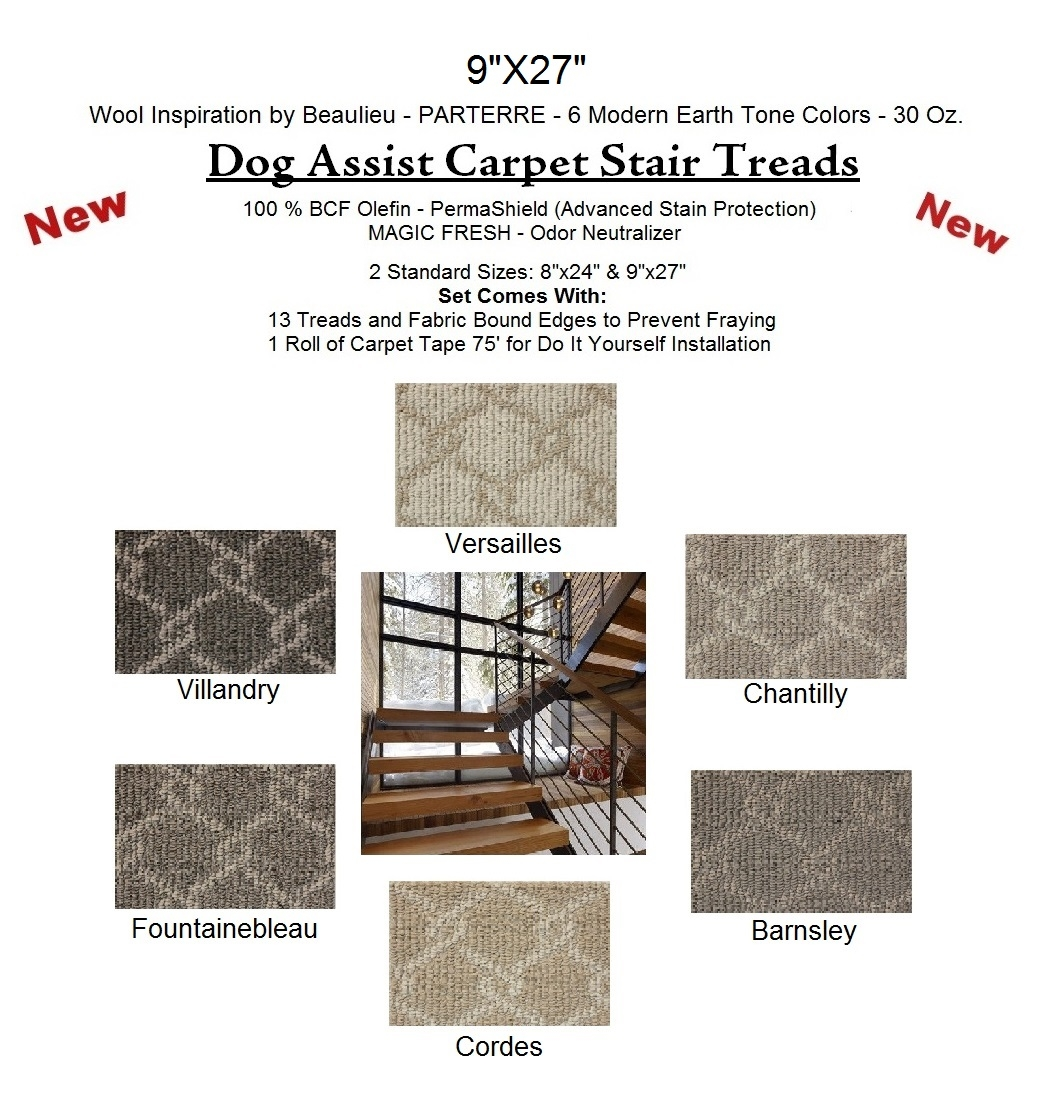 Parterre Ii Dog Assist Carpet Stair Treads Intended For Stair Tread Rugs For Dogs (View 19 of 20)
