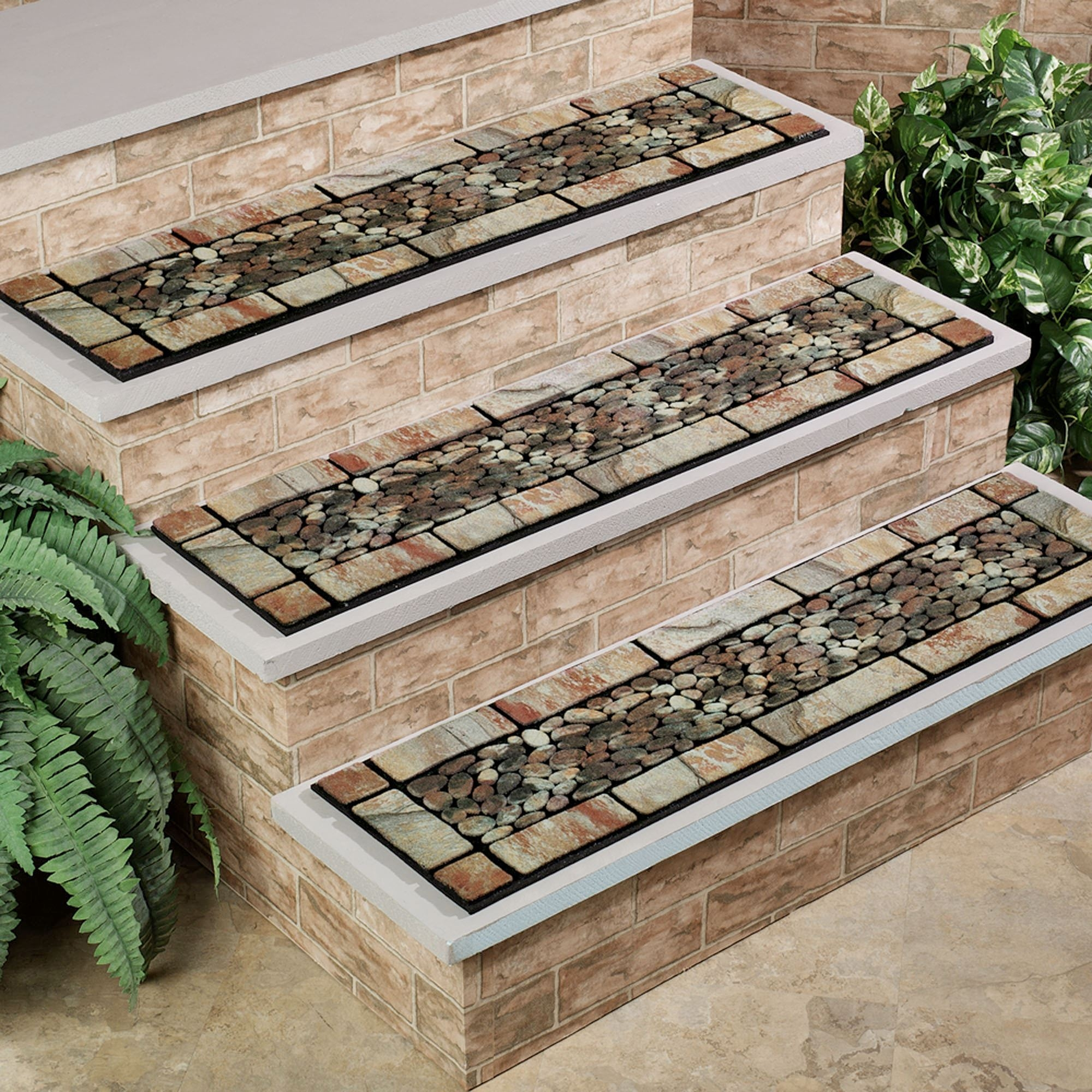 Patio Stone Stair Treads Intended For Stair Treads And Matching Rugs (#10 of 20)