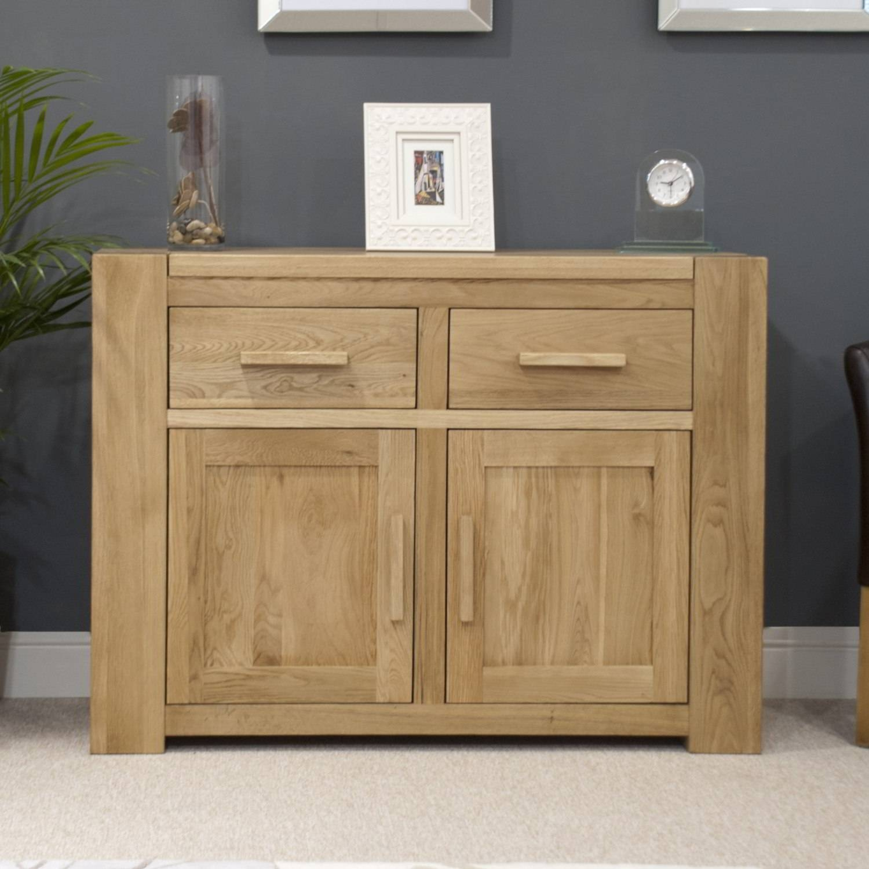 Pemberton Solid Oak Living Room Furniture Medium Storage Sideboard In Narrow Oak Sideboard (#11 of 20)