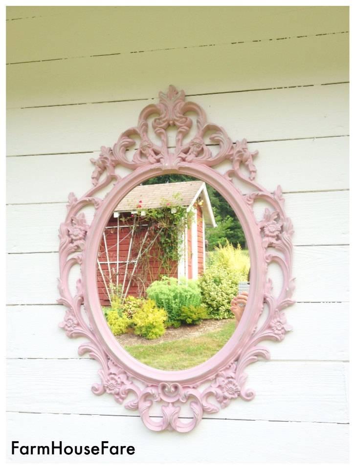 Pink Nursery Mirror Shabby Chic Bathroom Mirror Decorative Inside Large Pink Mirrors (#27 of 30)