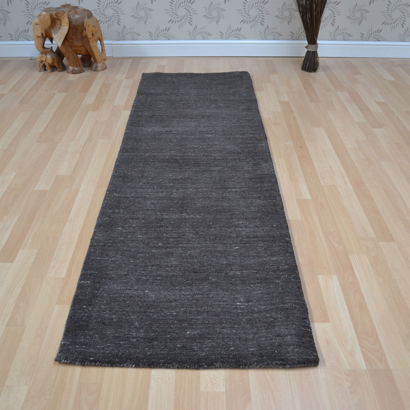 Plain Abrash Wool Hallway Runners In Charcoal Free Uk Delivery For Hallway Rugs And Runners (#18 of 20)