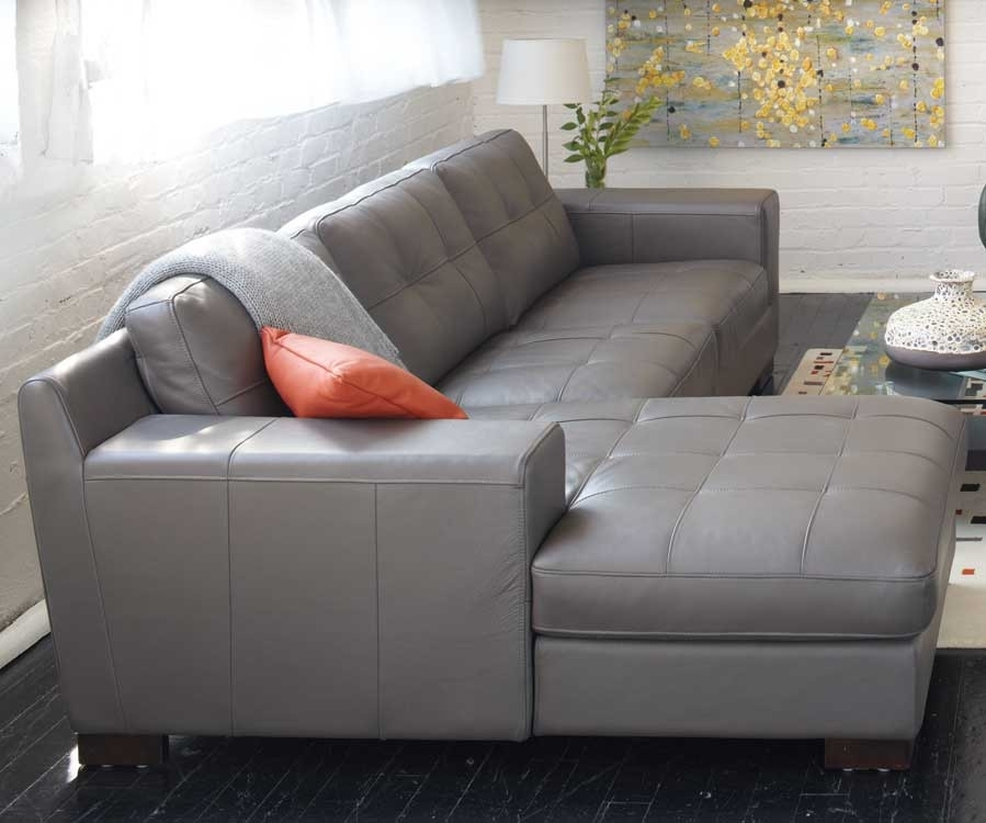 Plain Grey Leather Sectional Sofas Sofa For Design Inspiration Throughout Gray Leather Sectional Sofas (#10 of 15)