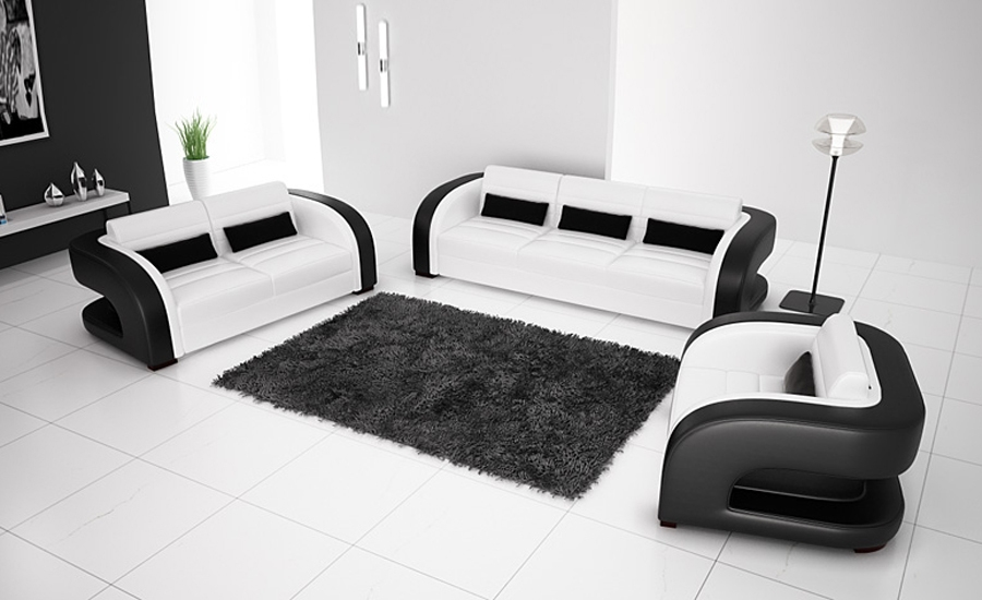 Popular Black White Leather Modern Sofa Buy Cheap Black White In White And Black Sofas (#15 of 15)