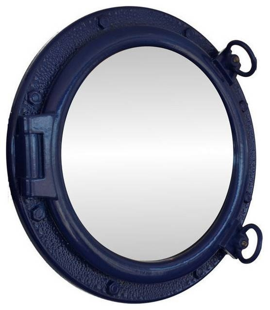 Porthole Mirror, Navy Blue – Beach Style – Wall Mirrors – In Porthole Wall Mirrors (View 13 of 20)
