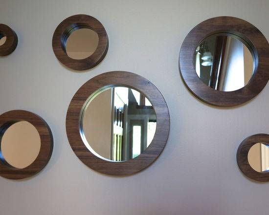 Porthole Mirror Set Six Solid Walnut Round Wall Mirrors In Round Porthole Mirrors (#14 of 30)