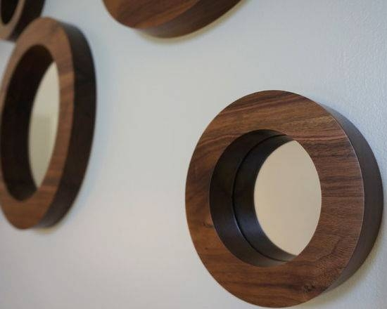 Porthole Mirror Set Six Solid Walnut Round Wall Mirrors Inside Round Porthole Mirrors (View 20 of 30)