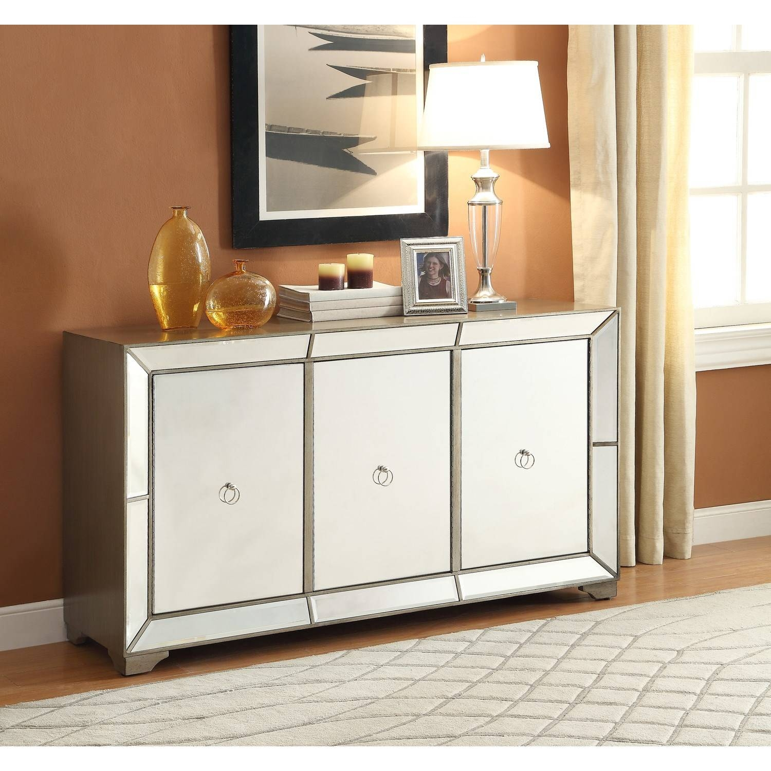 Powell Furniture 14bo8083cc Bombay Monterey Mirrored Sideboard In Within Mirrored Sideboard (View 5 of 20)