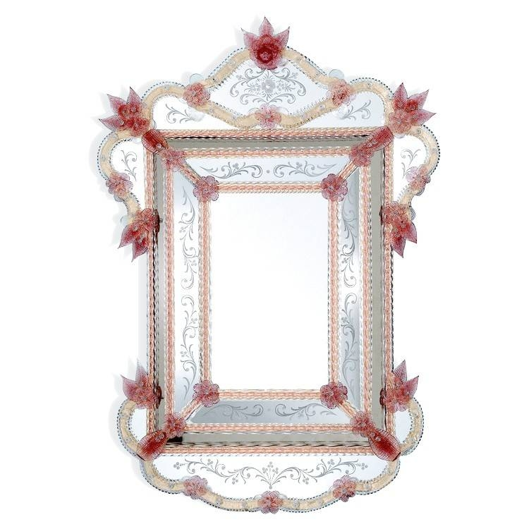 Purple Flowers Murano Glass Mirror Ca' Pesaro – Buy It Now! Pertaining To Red Mirrors (#14 of 20)
