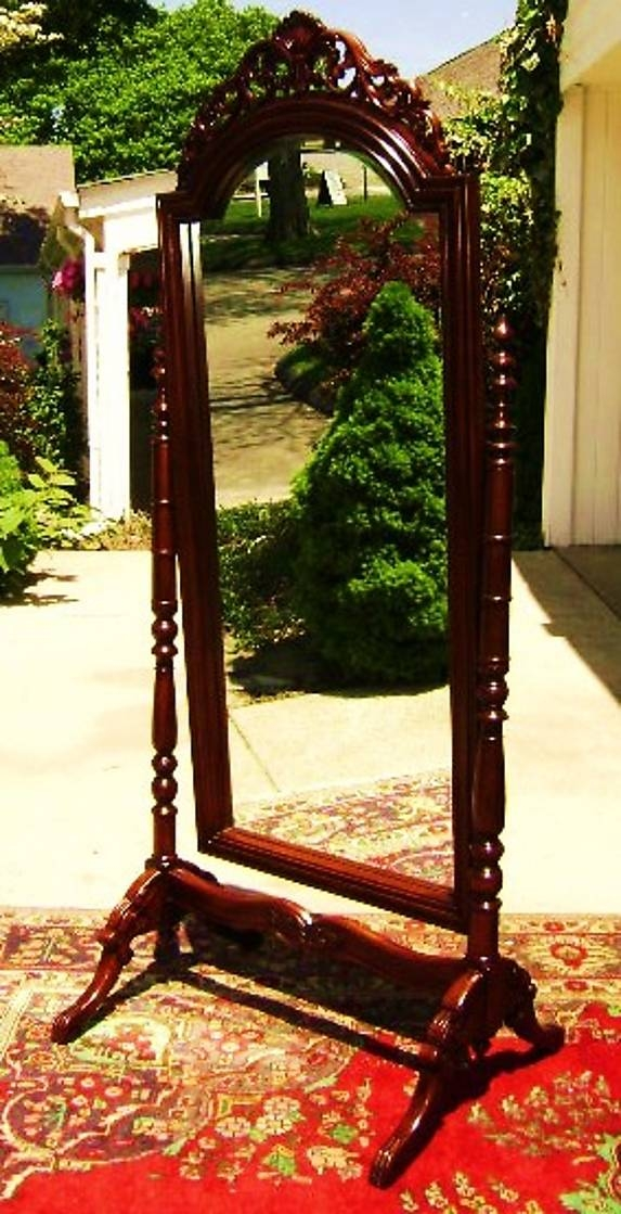 Quality Large Victorian Mahogany Standing Mirror For Sale Throughout Vintage Stand Up Mirrors (#28 of 30)