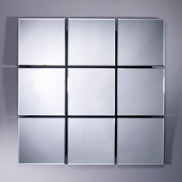 Inspiration about Quarto 9 Square Design Bevelled Mirror With Black Glass Detail Intended For Bevelled Mirrors Glass (#17 of 20)